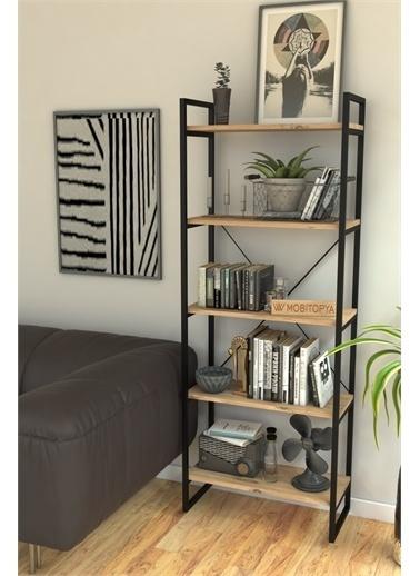 Mobitopya Nilamu Çam 65 cm Kitaplık , Metal Aksamlı, Organizer, Ofis, Ev, 5 Raflı Kitaplık Kahve